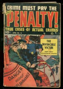 CRIME MUST PAY THE PENALTY #13 1950-WILD COVER-MORTUARY G/VG