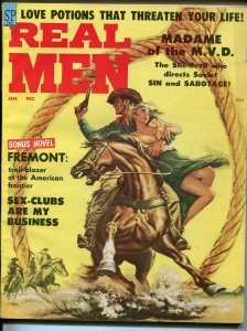 Real Men 1/1959-pulp-Sonya Costantine cheesecake-Victor Prezio-Syd Shores-FN