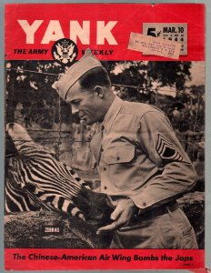 Yank 3/10/1944-Army Weekly-early Sad Sack cartoon-Gale Storm cheesecake-G/VG
