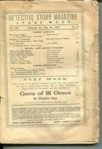 DETECTIVE STORY MAGAZINE-JULY 14 1923-BUCHANAN-FLETCHER-LUEHRMAN-poor P