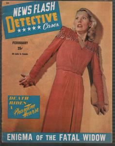 News Flash Detective #2 2/1946- terrified babe cover-lurid-violent pulp-VG/FN