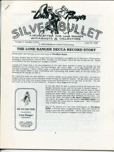 Lone Ranger Silver Bullet Newsletter #31 6/1995-Xerox format-limited printing-FN