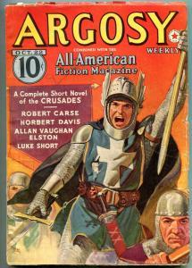 Argosy Pulp Oct 22 1938- Captain Hornblower- Crusades cover-CS Forester VG