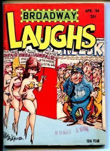 Broadway Laughs 4/1966-jokes-spicy cartoons-strippers-FN