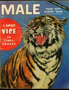 Male Pulp Magazine October 1954- BETTY PAGE- Tiger cover G/VG