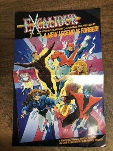 1987 Excalibur/Captain Britain/X-Men 17 x 11 Marvel Comics promo poster 1:1980's