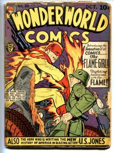 Wonderworld Comics #30 1941- 1st Flame Girl- US Jones- WWII cover