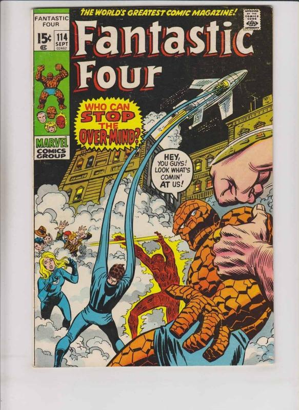 Fantastic Four #114 FN+ stan lee - john buscema - 2nd over-mind - bronze age