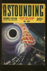 ASTOUNDING SCIENCE FICTION 12/1941-ROCKET COVER-LENSMEN SERIES-E E SMITH-vg