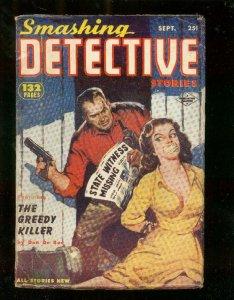 SMASHING DETECTIVE STORIES PULP-SEPT 1953-GAGGED WOMAN VG