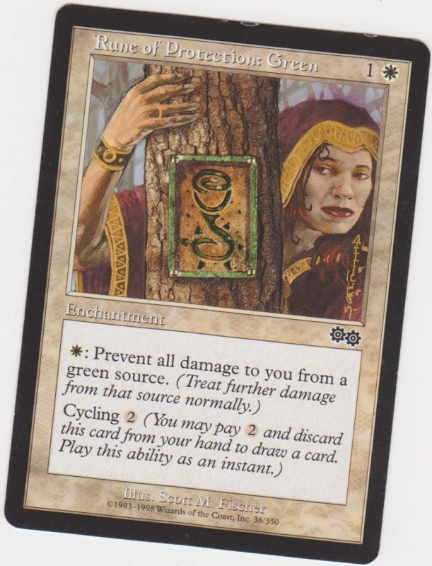 Magic the Gathering: Urza's Saga - Rune of Protection: Green