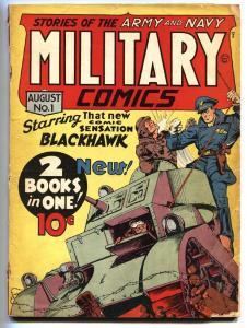 MILITARY COMICS #1 1941-1st BLACKHAWK-KEY ISSUE-EISNER G+