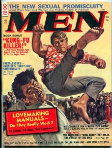 Men Magazine January 1974-Earl Norem kung-fu cover-KING KONG-CHEERLEADERS