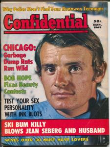 Confidential 3/1969-Jean Claude Killy-Jean Seberg-Bob Hope-exploitation-VG