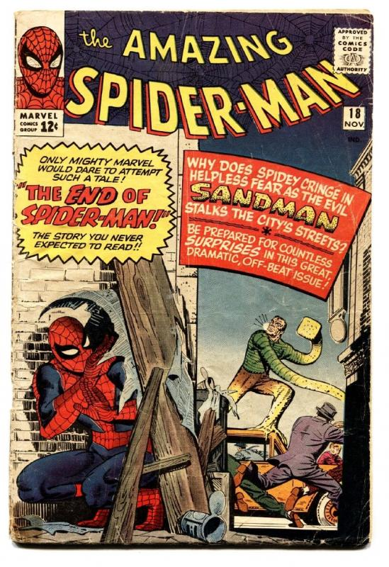AMAZING SPIDER-MAN #18 comic book-first ned leeds-sandman-marvel silver-age