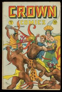 CROWN COMICS #9 1947-REVEALING NATIVE COVER-ESOTERIC VG
