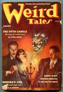 Weird Tales Pulp January 1939- Fifth Candle- Medusa's Coil VG-