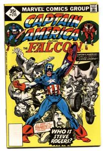 CAPTAIN AMERICA #215 1977-FALCON-KIRBY-MOTORCYCLE COVER VF.