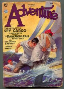Adventure Pulp July 1 1935- Shark cover- Dark Gods Call