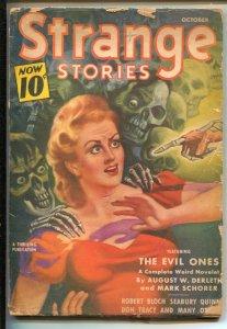 Strange Stories 10/1940-Thrilling-skeleton terror cover-horror-pulp-Robert Bl...