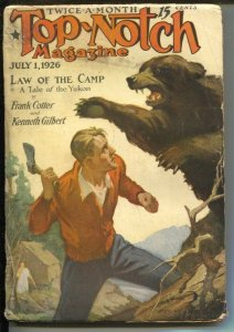 Top-Notch 7/1/1926-Street & Smith-Sidney Riesenberg grizzley bear attack cove...