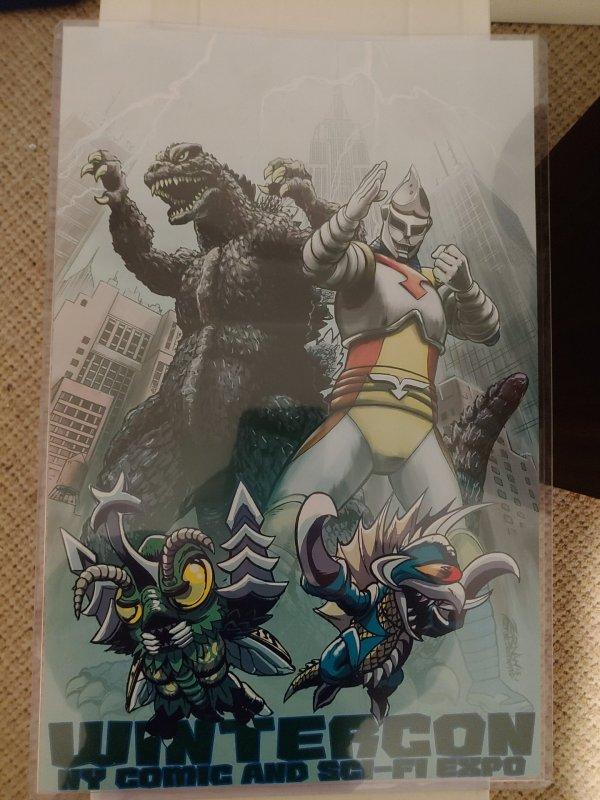 2015 Wintercon NY Comic & Scifi Expo Godzilla and Jet Jaguar print by Jeff Zorn
