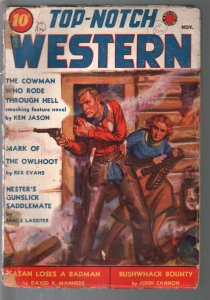 Top-Notch Western 11/1938-J W Scott GGA cover-western pulp thrills-G/VG