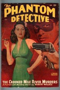 PHANTOM DETECTIVE-JAN 1948-WILD ACTION--HARDBOILED PULP HERO--ROBERT WALLACE FN