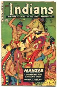 INDIANS  #14 1952-MANZAR-LONE WOLF-Golden Age Fiction House Western VG