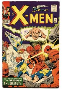 X-MEN-#15-MARVEL-Beast origin-silver age comic FLAT-TIGHT SHARP fn