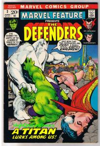 MARVEL FEATURE #3, FN+, Defenders, Hulk, Dr Strange, 1971, more in store