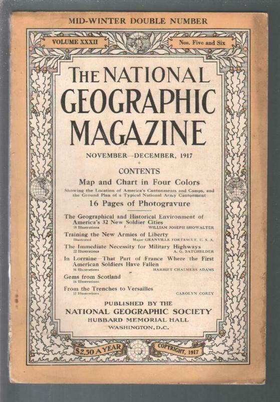 National Geographic 11/1917-WWI era issue-photogravure pix & info-FN
