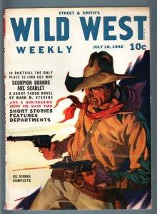 WILD WEST WEEKLY 7/18/1942-WESTERN PULP-SENOR RED MASK VF