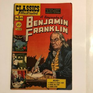 CLASSICS ILLUSTRATED 65 Benjamin Franklin HRN 64 (FIRST EDITION) VG+