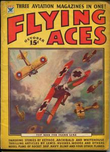 Flying Aces 10/1934- bedsheet edition-WWI aviation pulp thrills-rare-VG-