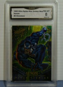 1995 Ultra Spider-Man Golden Web Venom #9 Chromium Card - Graded NM-MT 8