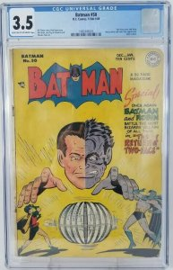 Batman #50~1949 DC~CGC 3.5 (VG-)~Two-Face Cover & Story, Dent & Vale Appearance