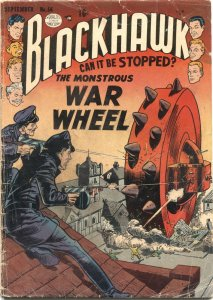 BLACKHAWK #56-1952-WAR WHEEL COVER AND STORY-AD FOR BLACKHAWK MOVIE