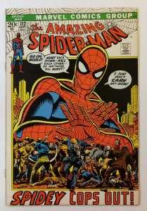 Amazing Spider-Man #112 VF Marvel Bronze Age 1972: Spidey Cops Out!