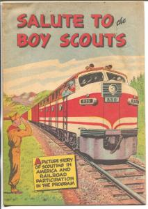 Salute To The Boy Scouts 1960-history of Boy Scouts-railroads-promo comic-VG