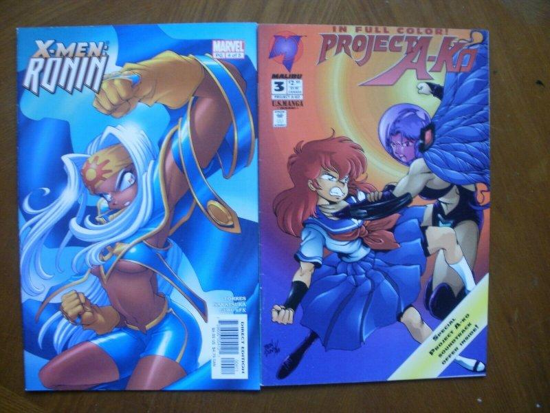 2 MANGA Comic: Marvel X-MEN RONIN #4 (2003) & Malibu PROJECT A-KO #3 (1994)