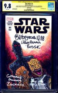 Star Wars #1 BLANK CGC SS 9.8 BOUNTY HUNTERS SKETCH signed Alan Harris BOSSK +3