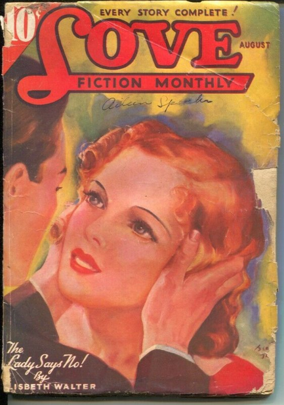 Love Fiction Monthly 8/1936-female pulp authors-pin-up girl cover art-G
