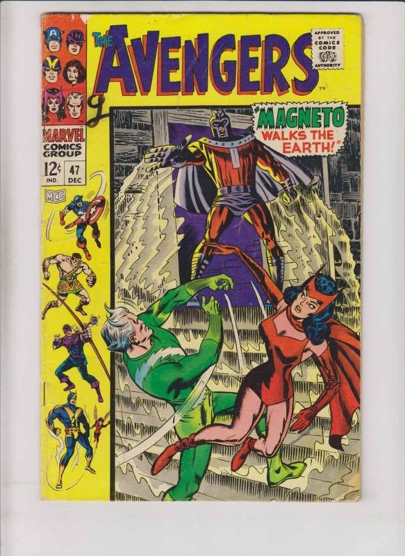 Avengers #47 VG roy thomas - magneto - scarlet witch - quicksilver - silver age