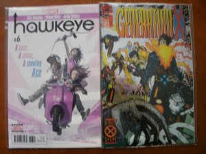 2 Marvel Comic: HAWKEYE #6 (Avengers) & GENERATION X #1 (X-Men Event FOIL Cover)