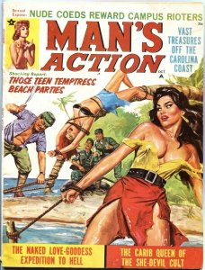 MAN'S ACTION-OCT 1969-COMMIE BONDAGE-TERROR-CHEESECAKE-PULP THRILLS