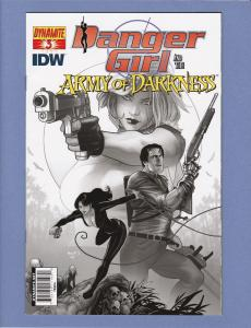 Danger Girl and the Army of Darkness #3 Black and White Variant Cover FN