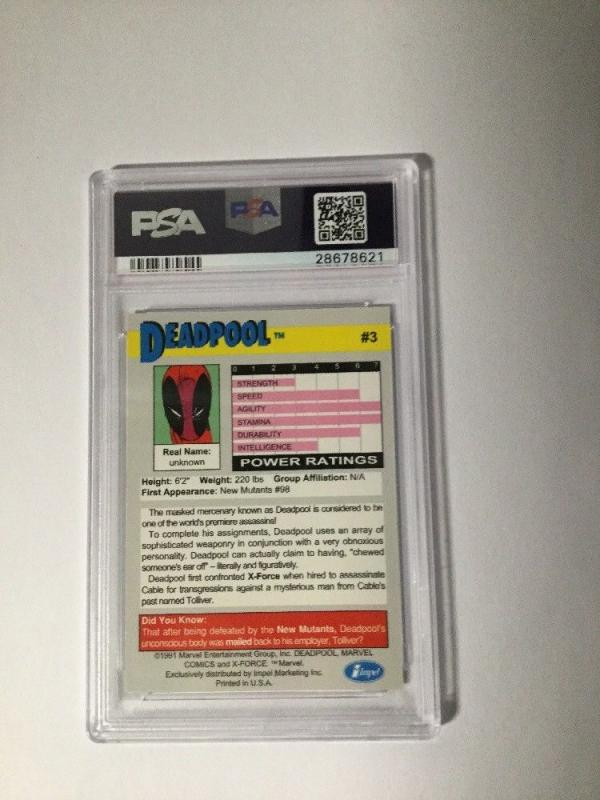 Deadpool Impel #3 X-force 1 Promo Trading Card PSA Graded 8 Nm-mt 2nd Appearance