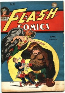 FLASH COMICS #70-1946-HAWKMAN BY JOE KUBERT-GHOST PATROL-JOHNNY THUNDER-DC