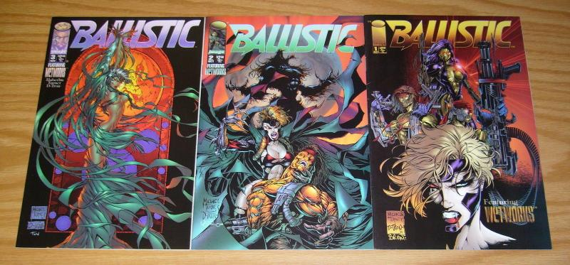Ballistic #1-3 VF/NM complete series - wetworks - michael turner - image comics